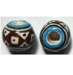 Peruvian Hand painted Ceramic Bead - Ball 03