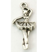 31mm Antique Silver Ballerina Charm Lead and Nickel Free