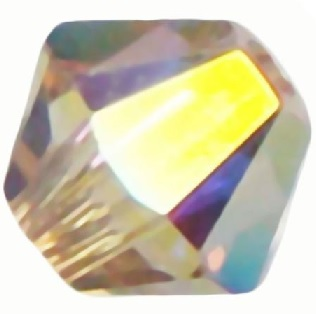 50 pack 4mm 5328 Swarovski Bicone Crystal AB Golden Shadow