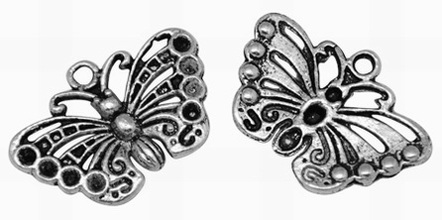 18mm Antique Silver Butterfly 2 Lead and Nickel Free