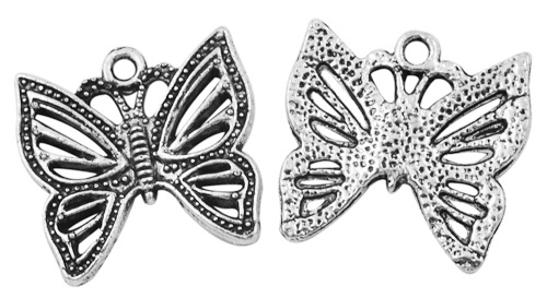 21mm Antique Silver Butterfly 3 Lead and Nickel Free