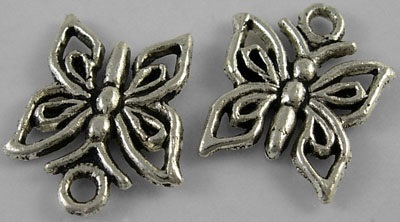 16mm Antique Silver Butterfly 5 Lead and Nickel Free