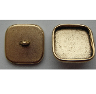 9mm 24K Gold Plated Patera Square Brass Button Bezel