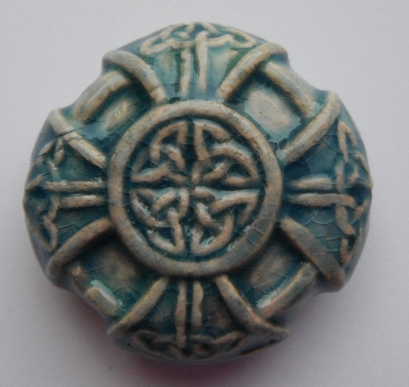Peruvian Bead - Raku Glazed Celtic Cross