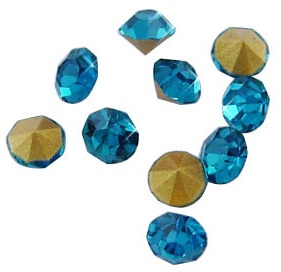 5 grams Turquoise crystal Chatons 2,3,4 mm