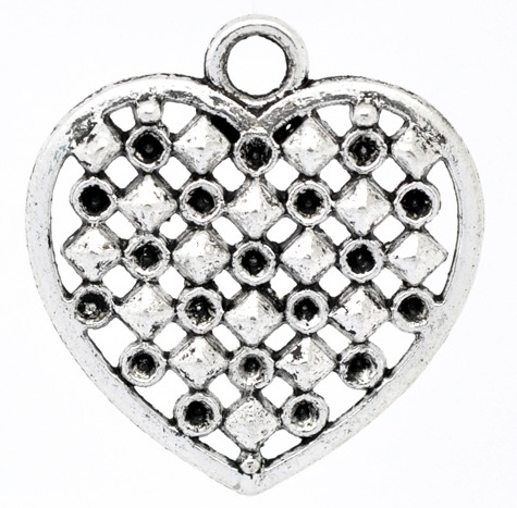 33mm Silver Colour Checkerboard Heart Lead and Nickel Free