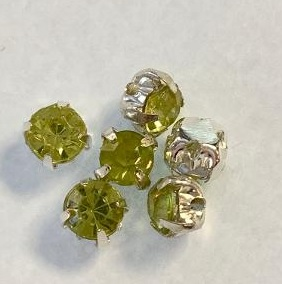 4.5 mm Montees with Green/Yellow Acrylic Rhinestones 6 pack