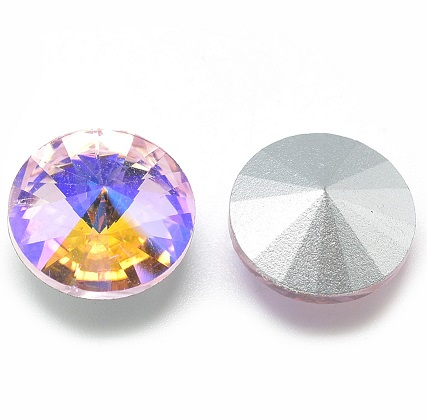 8mm Chinese Crystal Pointed Back Rivoli Pink/Peach 01