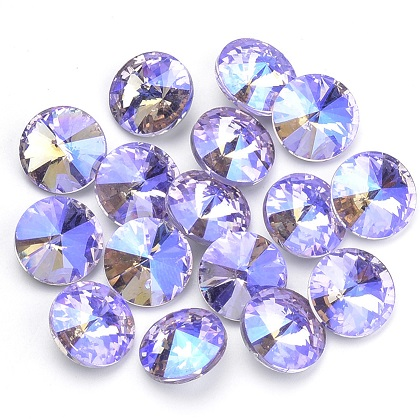 14mm Chinese Crystal Pointed Back Rivoli Lime/Purple 02