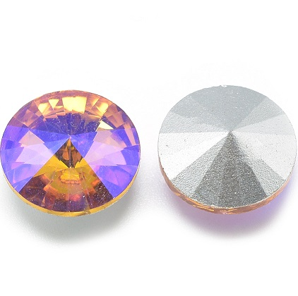 8mm Chinese Crystal Pointed Back Rivoli Pink/Orange 04