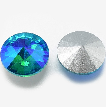 14mm Chinese Crystal Pointed Back Rivoli Blue/Green 05