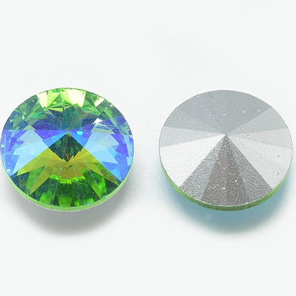 8mm Chinese Crystal Pointed Back Rivoli Green/Blue 06