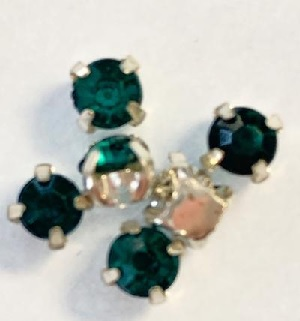 4.5 mm Montees with Teal Acrylic Rhinestones 6 pack