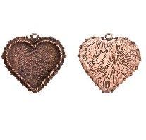 40x38mm Copper Plated Patera Ornate Heart Bezel