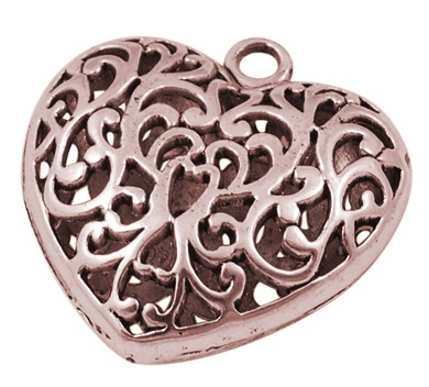 36mm Antique Copper Filigree Heart Lead and Nickel Free