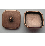 15mm Copper Plated Patera Square Brass Button Bezel