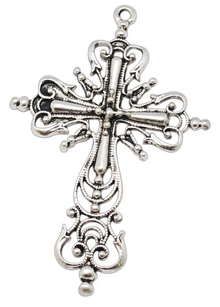 64mm Antique Silver Cross Number 3 Lead and Nickel Free