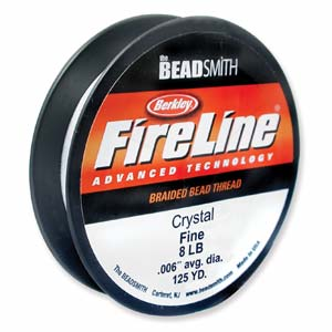 8lb strength, 0.007 inch diameter Fireline 125 yards Crystal