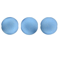 14mm Czech Cushion Round 8 pack Satin Metallic Azure 29434
