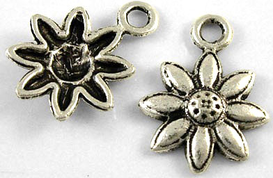 15mm Antique Silver Daisy Charm Number 1 Lead and Nickel Free