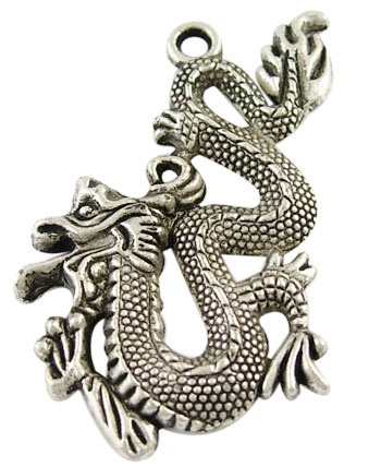 53mm Antique Silver Dragon Lead and Nickel Free