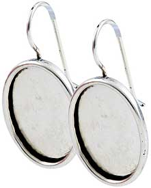 .999 A. Silver Plated Ear Wire with 18x13mm oval bezel 1 pair