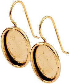 24K Gold Plated Ear Wire with 18x13mm oval bezel 1 pair