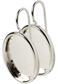.999 S. Silver Plated Ear Wire with 14x10mm oval bezel 1 pair