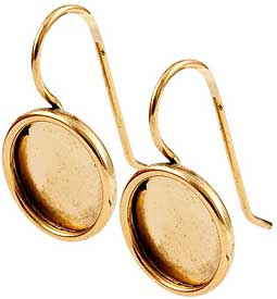 24K A Gold Plated Ear Wire with 11mm round bezel 1 pair