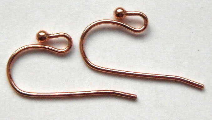 Copper Plated, Patera Shepherds Crook Ear Wire 1 pair