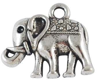 13mm Antique Silver Elephant 2  Lead and Nickel Free