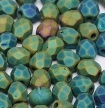 50 pack 3 mm Fire Polished Jet Matted Green Iris 23980 21155
