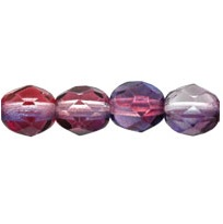25 pack 6 mm Fire Polished Dual Coated Amethyst/Fuchsia 48014