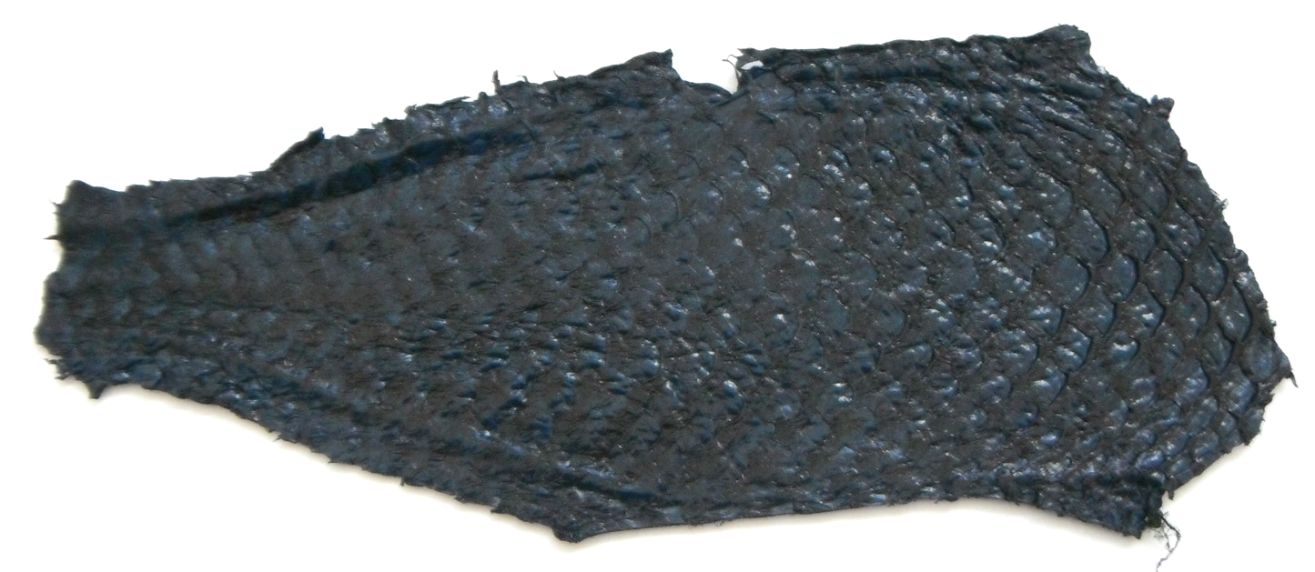 Eco friendly handmade soft suede Dark Blue Tilapia Fish Skin Lea
