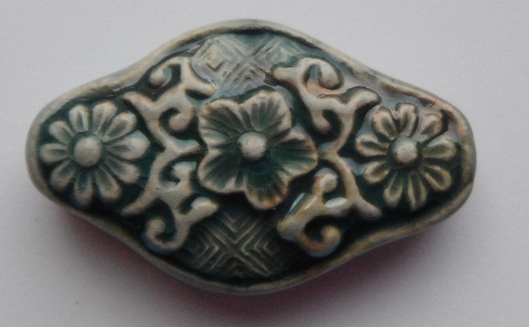 Peruvian Bead - Raku Glazed Shaped Floral Bead