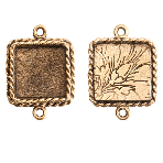 17x13mm 24K Gold Plated Patera Ornate Double Square Bezel 2 pack