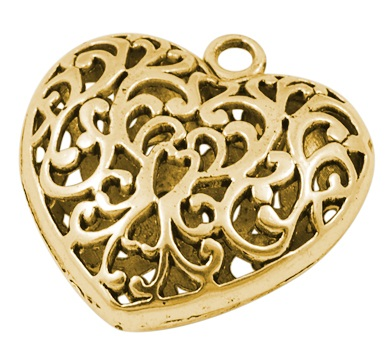 36mm Antique Gold Colour Filigree Heart Lead and Nickel Free