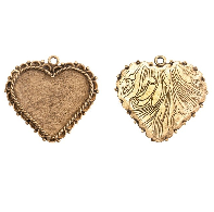 40x38mm 24K Gold Plated Patera Ornate Heart Bezel