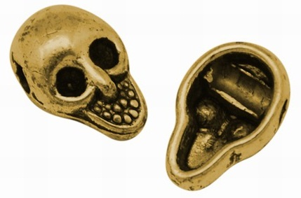 10.5mm Antique Gold Skull Number 2 Lead and Nickel Free