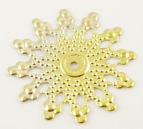 20mm Gold Filigree Snowflake Lead and Nickel Free