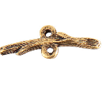 24K Gold Plated Patera Twig Shaped Bar with Double Loop