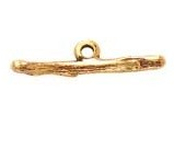 24K Gold Plated Patera Twig Shaped Bar with Single Loop