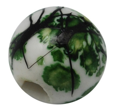 Handmade Porcelain Beads - 11 mm random green/black pattern