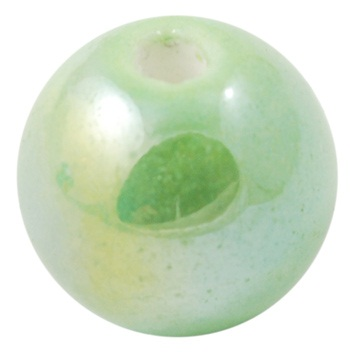 Handmade Pearlised Porcelain Beads - 12mm Green