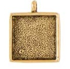 15mm 24K Gold Plated Patera Single Loop Square Bezel