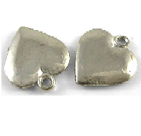 12mm Silver Colour Medium Flat Heart Charm Lead and Nickel Free