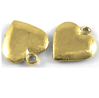 12mm Gold Colour Medium Flat Heart Charm Lead and Nickel Free