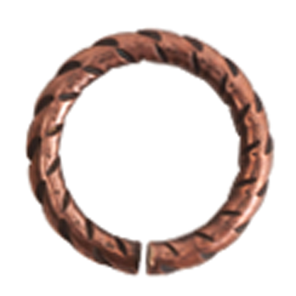 9mm Patera copper plated textured jumpring 10 Pack