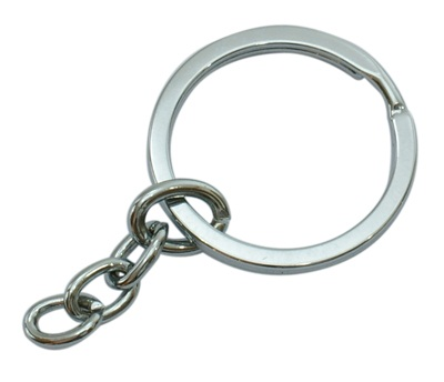 33mm Platinum Key Ring with 30mm Chain 3 pack