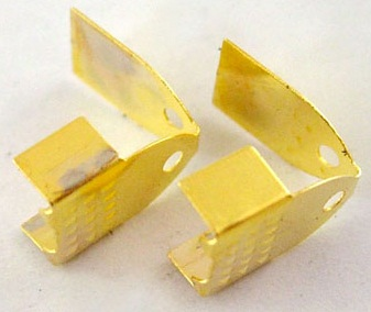 CELG01 11mm Gold Colour Folding Cord Ends 10 pack